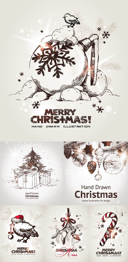 Hand_Drawn_Christmas_Vector_Cards
